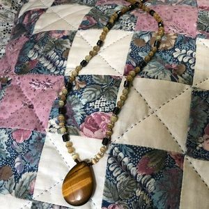 Vintage tigers eye and hematite necklace